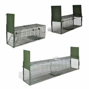 Life Trap with 1/2 Door Animal Cage Catcher Pest Control Humane Cat Fox Mesh UK