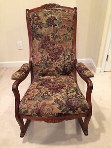 Image Is Loading Beautiful Vintage Wood Amp Tapestry 1930s Rocking Chair