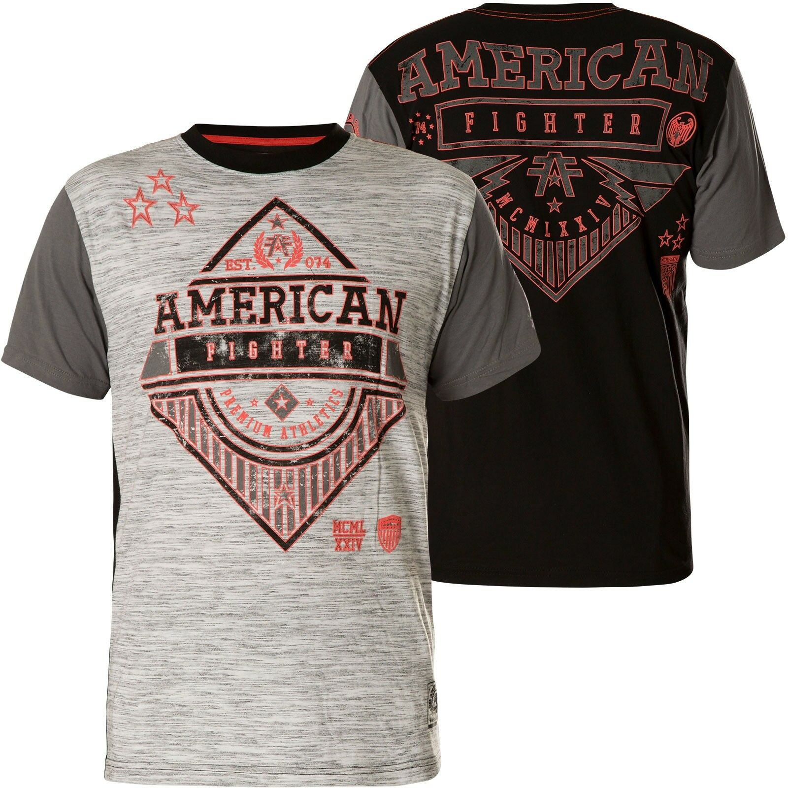 AMERICAN FIGHTER Affliction T-Shirt Clarkson Grau Schwarz T-Shirts