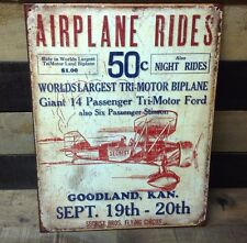 SECRIST BROS FLYING CIRCUS Airplane Sign Tin Vintage Garage Bar Decor Old Rustic