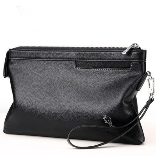 Men/'s soft Leather Briefcase Wrist Clutch Handbag Bag casual Wallet Purse Black