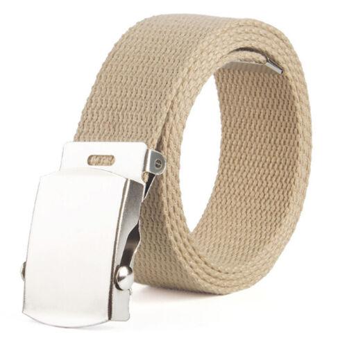 Mens Women/'s Unisex Canvas Jeans Fabric Webbing Belt Metal Buckle Army Belt 1PC