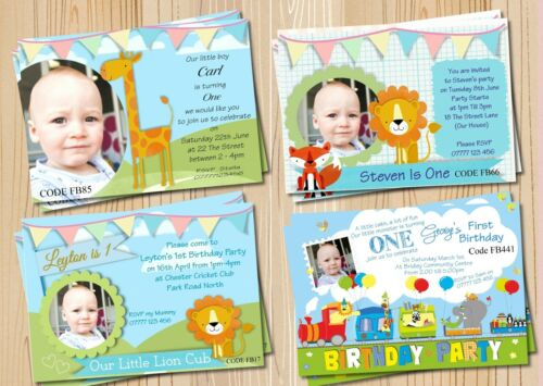 Boys 1st Birthday Invitations Card or Thank You Cards With Free Envelopes