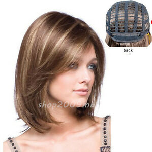 New-Fashion-Women-039-s-Short-Brown-Blonde-Natural-Straight-Cosplay-Hair-Full-Wigs