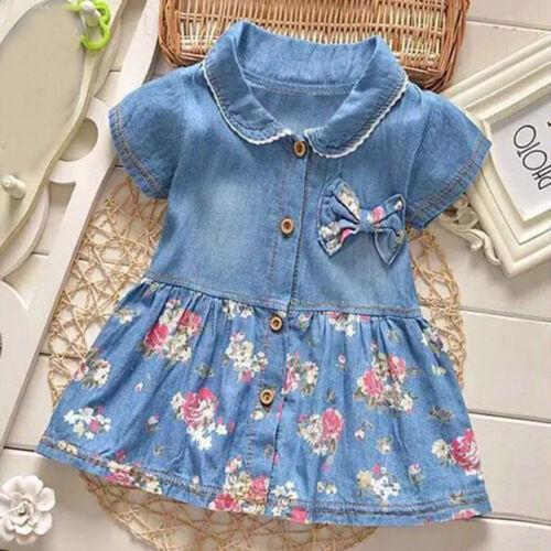Casual Toddler Baby Girls Floral Print Bowknot Short Sleeve Princess Denim Dress