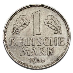 1958-G Germany Federal Republic Mark (About XF Condition) KM# 110