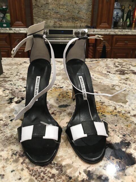58e5da00d5 manolo blahnik, white and black checker heel sandals size 40 | eBay