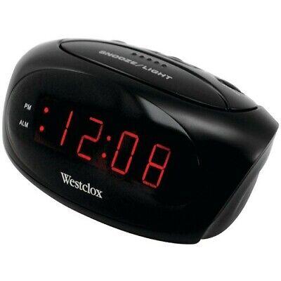 Westclox Electric White Digital Alarm Clock 9 Minute Snooze Soft or Loud Alarm