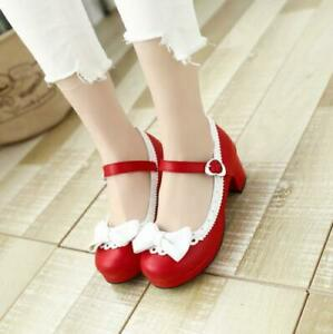 Women/'s Closed Toe Lolita Bowknot Cut Out Casual Ankle Strap Block Heel Shoes B