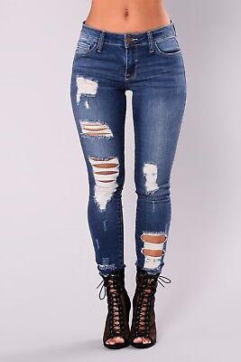 REGNO Unito WOMEN/'S Donna Extreme Ripped Effetto Anticato Foro Skinny Denim Jeans a vita alta