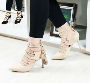 Womens-Ladies-Mid-High-Stiletto-Heel-Sandals-Ankle-Strap-Court-Heel-Party-Shoes