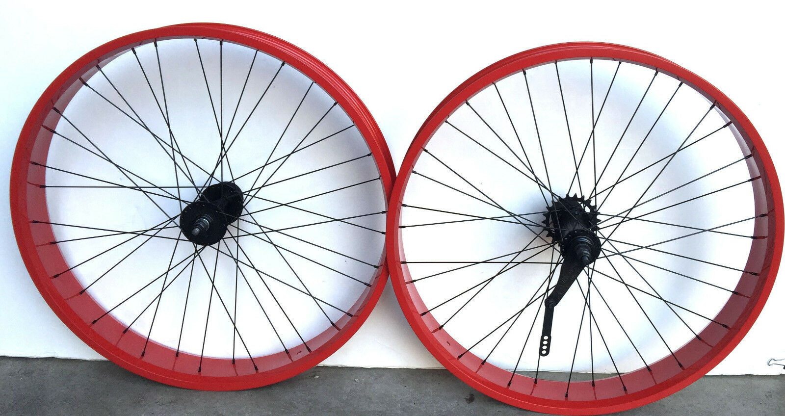 Micargi Fat Cruiser 26  x 4.0 Rear & Front Wheels 36 Spokes Coaster brake Red