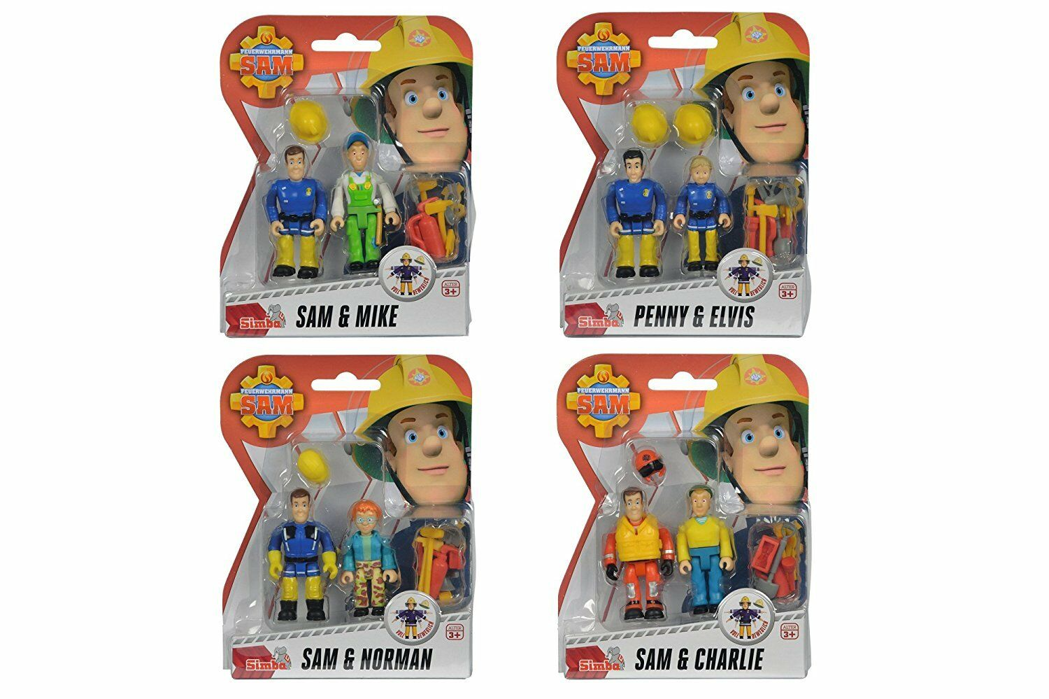 Fireman Sam 4 x 2 Verpackung figure a accessories Sam Elvis Penny Norman Charlie Mike