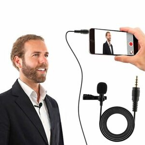 New-Clip-On-Lapel-Microphone-Hands-Free-Wired-Condenser-Lavalier-Mic-1-5m-Long