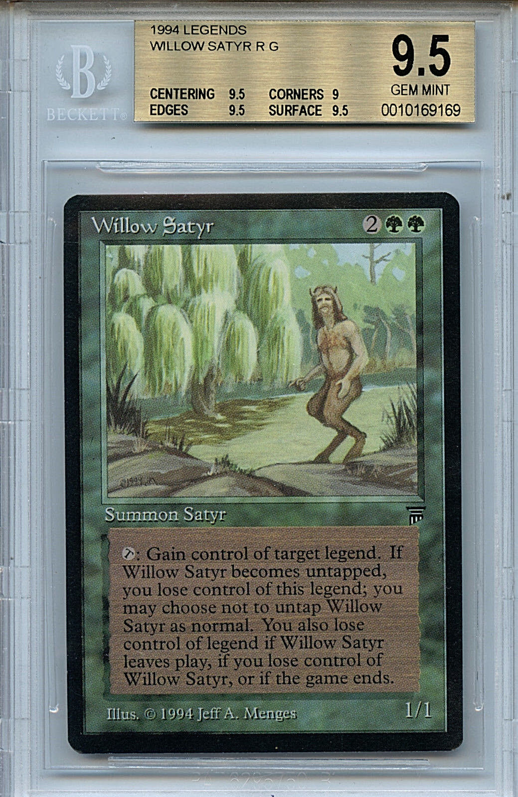 MTG Legends Willow Satyr BGS 9.5 Gem Mint card Magic the Gathering WOTC 9169