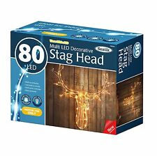 Reindeer Stag Head 80 LED's Light Up Warm White Christmas Wall Decoration