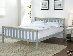 Grey Wooden Bed Frame Pine Double King Single Size Solid