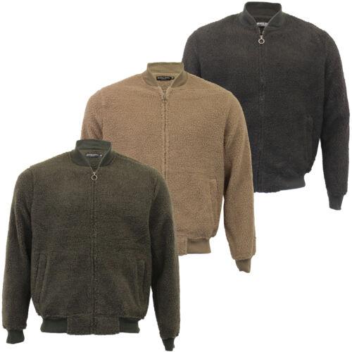 Mens Borg Sherpa Fleece Sweatshirt Brave Soul MANNA Zip Baseball Neck Top Warm