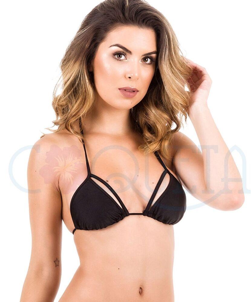 Non-rembourré Coqueta Bikini Haut Triangle Maillot Bain Métallique Multi Lanière