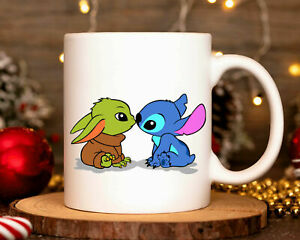 Stitch And Baby Yoda Kissing Ceramic Coffee Mug Couple Mug Gift For Men Women
