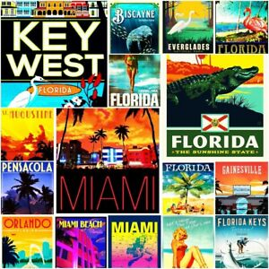 Florida Gulf Tampa Sarasota Naples Cape Beach Vintage Repro Poster FREE SHIP