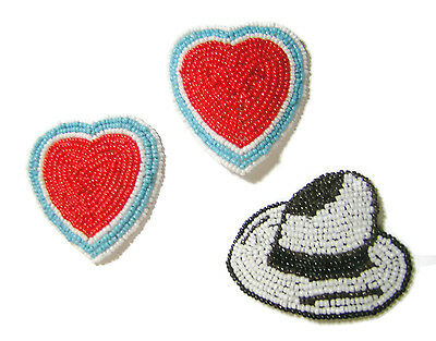 BLUE RED 3 HEART HAT NATIVE AMERICAN INSPIRED SEED BEADED ART & CRAFT PATCH