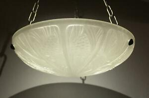 Antique-1930s-French-Art-Deco-Danyl-Frosted-Glass-Ceiling-Chandelier-Fixture