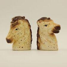 Vintage Horse Head Salt and Pepper Shakers Set Figural Novelty Porcelain Ceramic