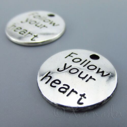 20 Or 50PCs Follow Your Heart 20mm Antique Silver Plated Charms C1666-10
