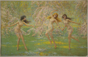 Vintage-1920s-F-W-Read-Ethereal-Fine-Art-Pin-Up-Print-Lithograph-Forest-Nymphs