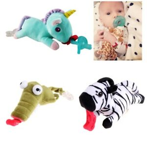 Baby Boy Girl Dummy Pacifier Clip Feeding Plush Animal Toy Soother