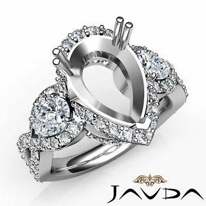 Pear-Diamond-Three-3-Stone-Cross-Shank-Pave-Semi-Mount-Engagement-Ring-1-4Ct