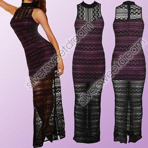 Vestito-pizzo-elegante-CERIMONIA-sexy-maxi-abito-donna-spacco-crochet-velato-new