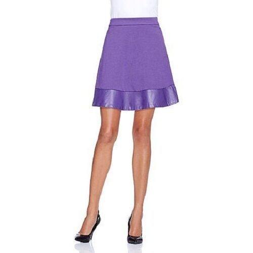 IMAN PLATINUM PONTE SWING SKIRT WITH LEATHER TRIM CHOOSE YOUR SIZE & COLOR  170