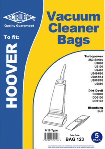 U2462 5 x HOOVER TURBOPOWER Vacuum Cleaner Bags H18 Type U2090 U2464 U2106