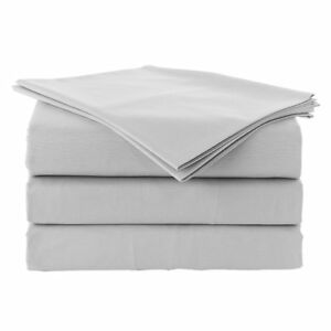 Egyptian-Cotton-1-Fitted-Sheet-amp-2-Pillowcase-1000Thread-Count-light-Grey-Solid