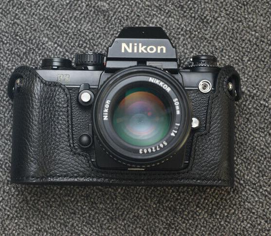 Genuine Leather Half Case for Nikon F3 (Black with Black Stitch) - BRAND NEWy