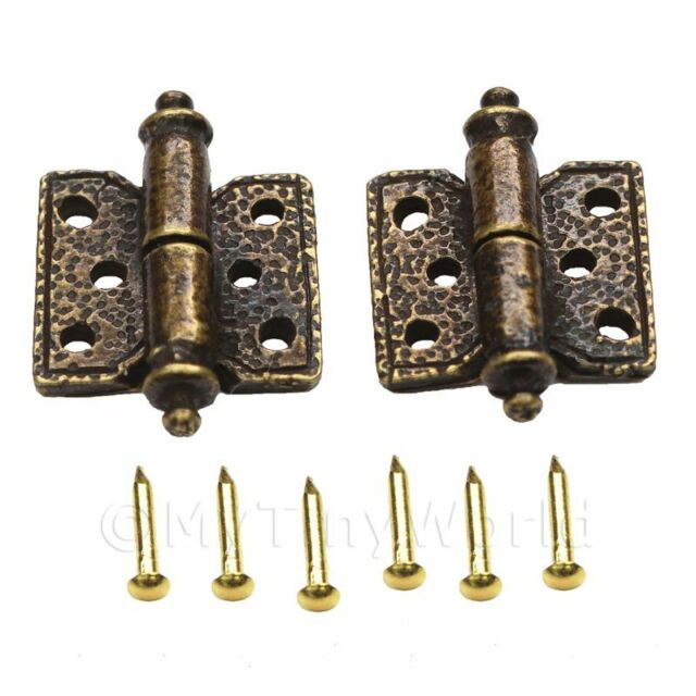 2x Large Dolls House Miniature Ornate Hammered Brass Butterfly Hinges