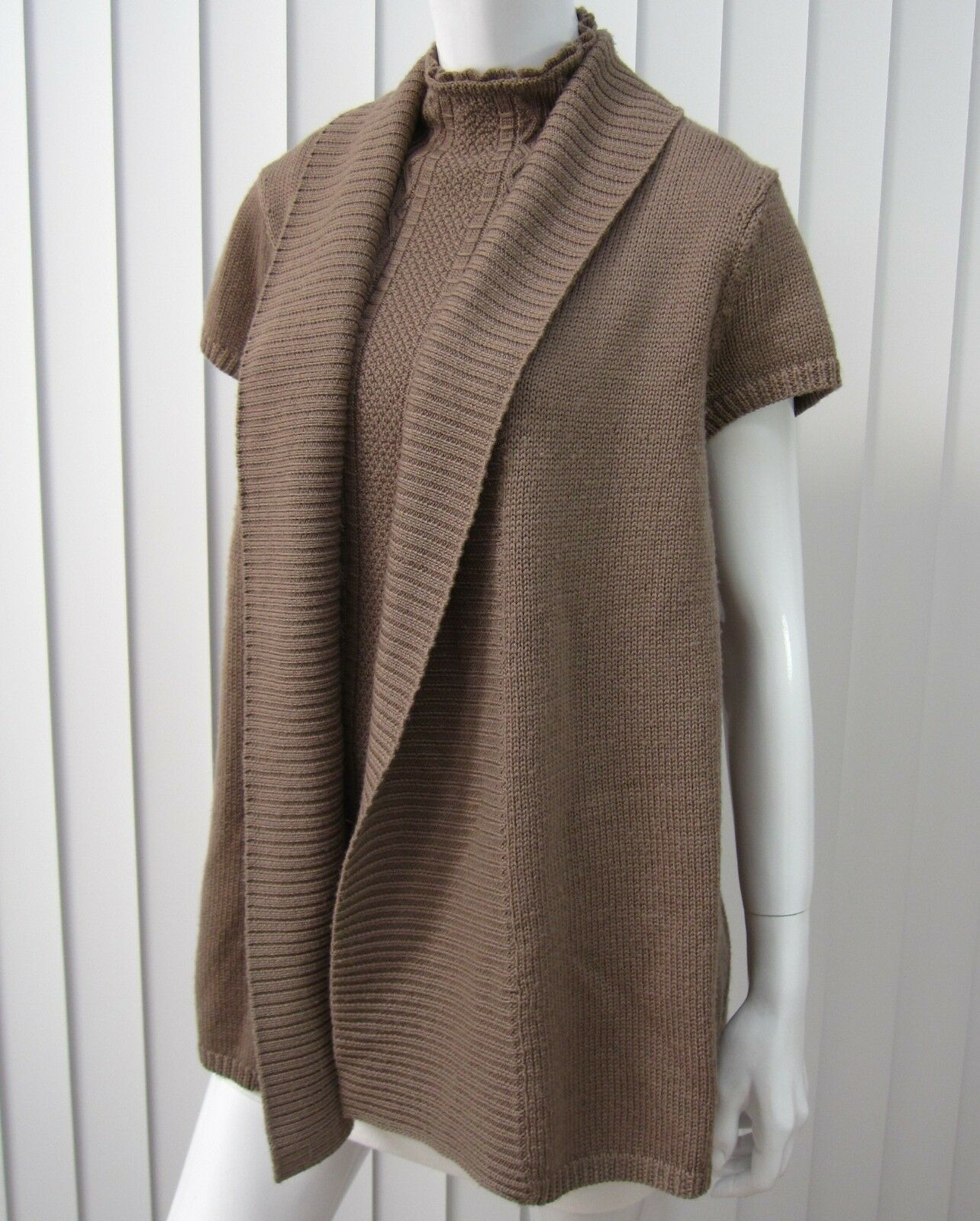 Saks Fifth Avenue Short Sleeve Cardigan Sweater Size L Large Brown