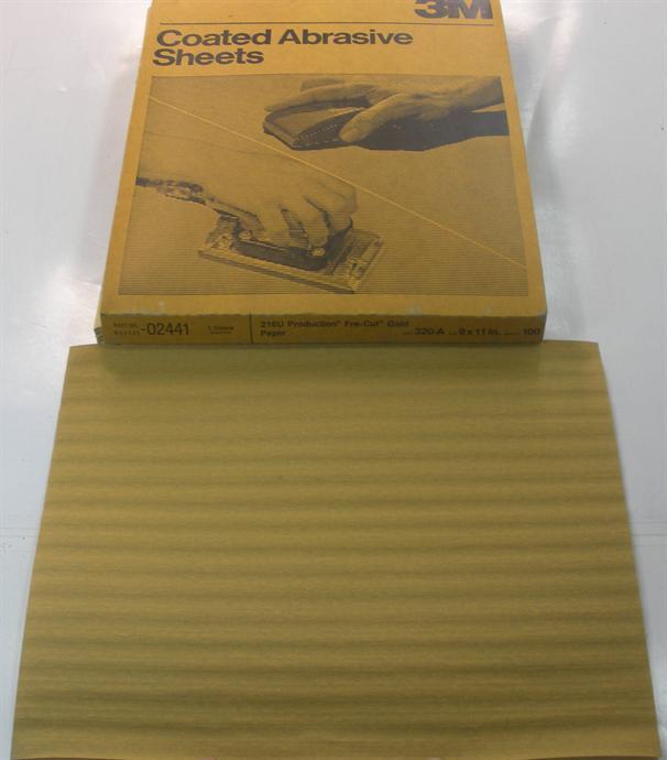 3M 02441 Produktion Vorgeschnitten Gold Schleifpapier Blatt 9   X 11   320a Grit