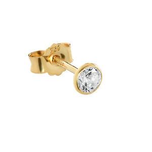 Einzel 4mm Ohrstecker Gelbgold 750 Gold Ohrringe 18 Karat Zirkonia Weiß 2613