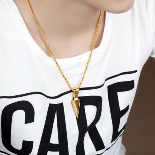 Punk Men/'s Fashion Jewelry Gold Silver Arrow Head Pendant Long Chain Necklace