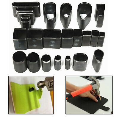 US 24 Hole Shape Style Hollow Cutter Punch Set Handmade Leather Craft DIY Tools