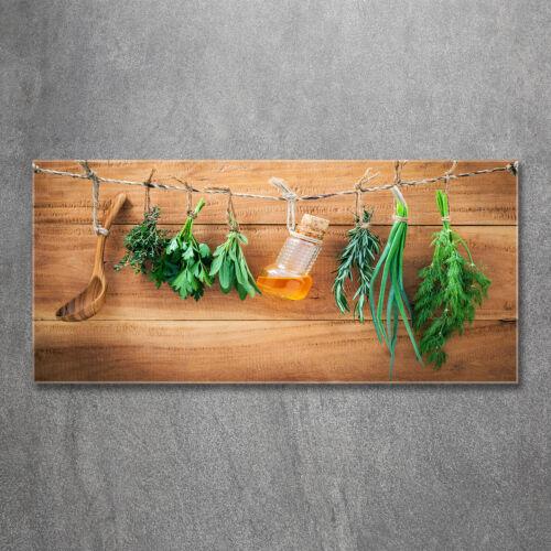 Leinwandbild Kunst-Druck 125x50 Bilder Essen Getränke Kräuter an Schnur