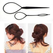 2pcs Plastic Magic Topsy Tail Hair Braid Ponytail Styling Maker Clip Tool Black