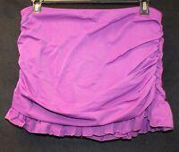Womens Plus Size 20w Purple M116 Mirto Side Shirred Swimsuit Skirt Bottom