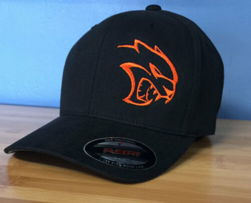 Embroidered Hellcat Head Design Flex-Fit Hat U Choose Size /& Thread Color