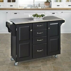 Details about Home Styles Stainless Steel Kitchen Island Cart in Black