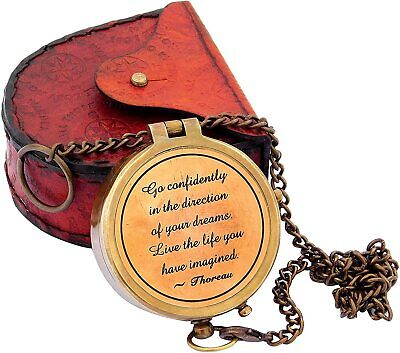 Aaban Nautical Follow Your Inner Compass but Carry This one just Engraved Brass Compass