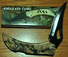 "New Eagle Eye Camo Folding Pocket Knife with Clip 4"" Closed Camouflage Lockback"